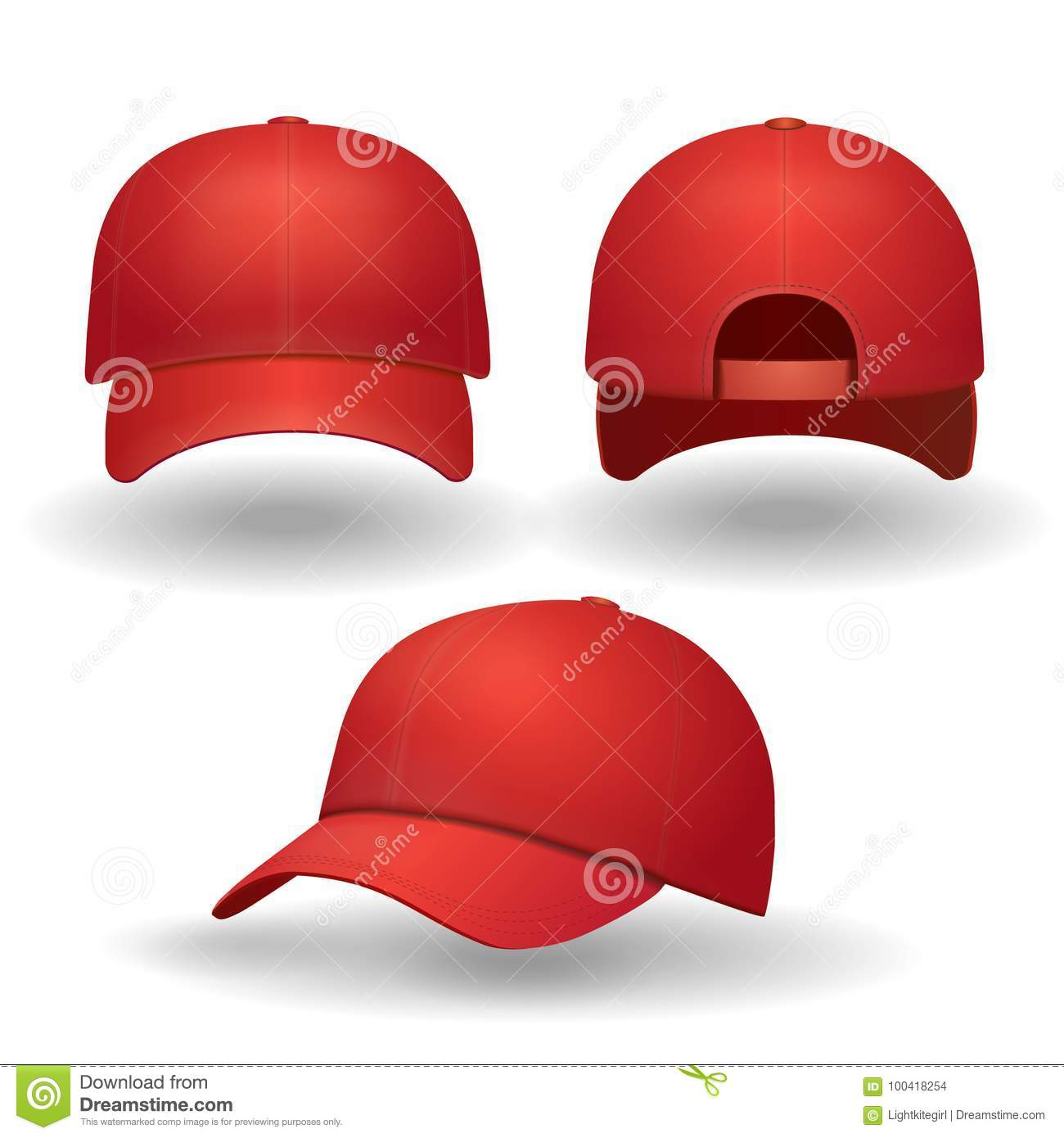 56f19af6b72 Realistic red baseball cap set. Back front and side view isolated 3d vector  illustration.