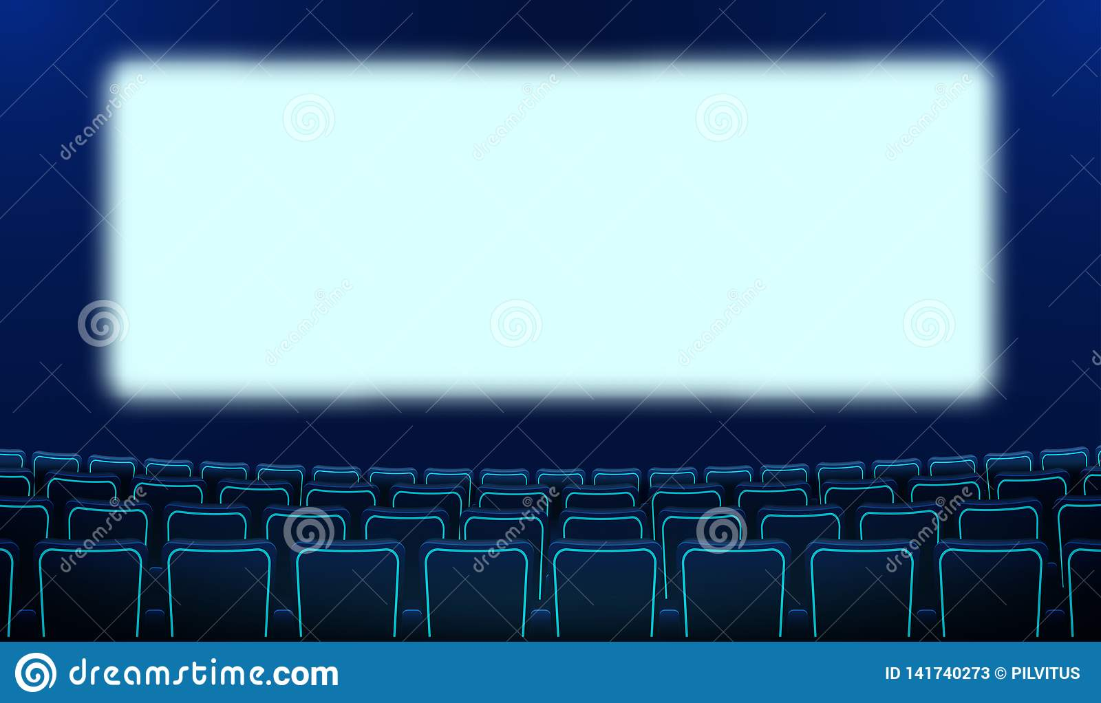 Realistic Rows Of Blue Chairs Cinema And White Blank Screen In The Darkness Cinema Auditorium And Movie Theater Seats Facing Stock Illustration Illustration Of Premiere Beholder 141740273