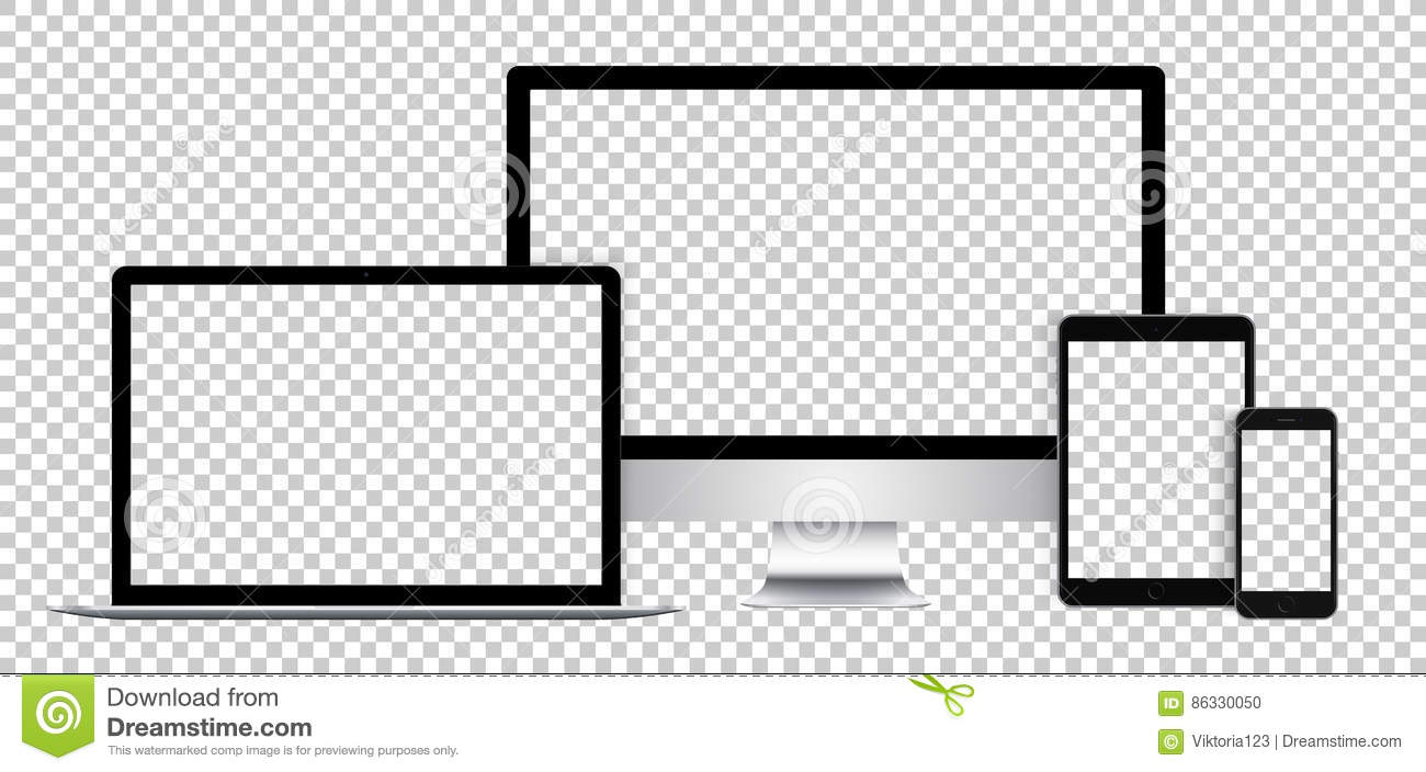 Realistic set of electronic devices, black display, laptop, tablet and phone with empty screen.
