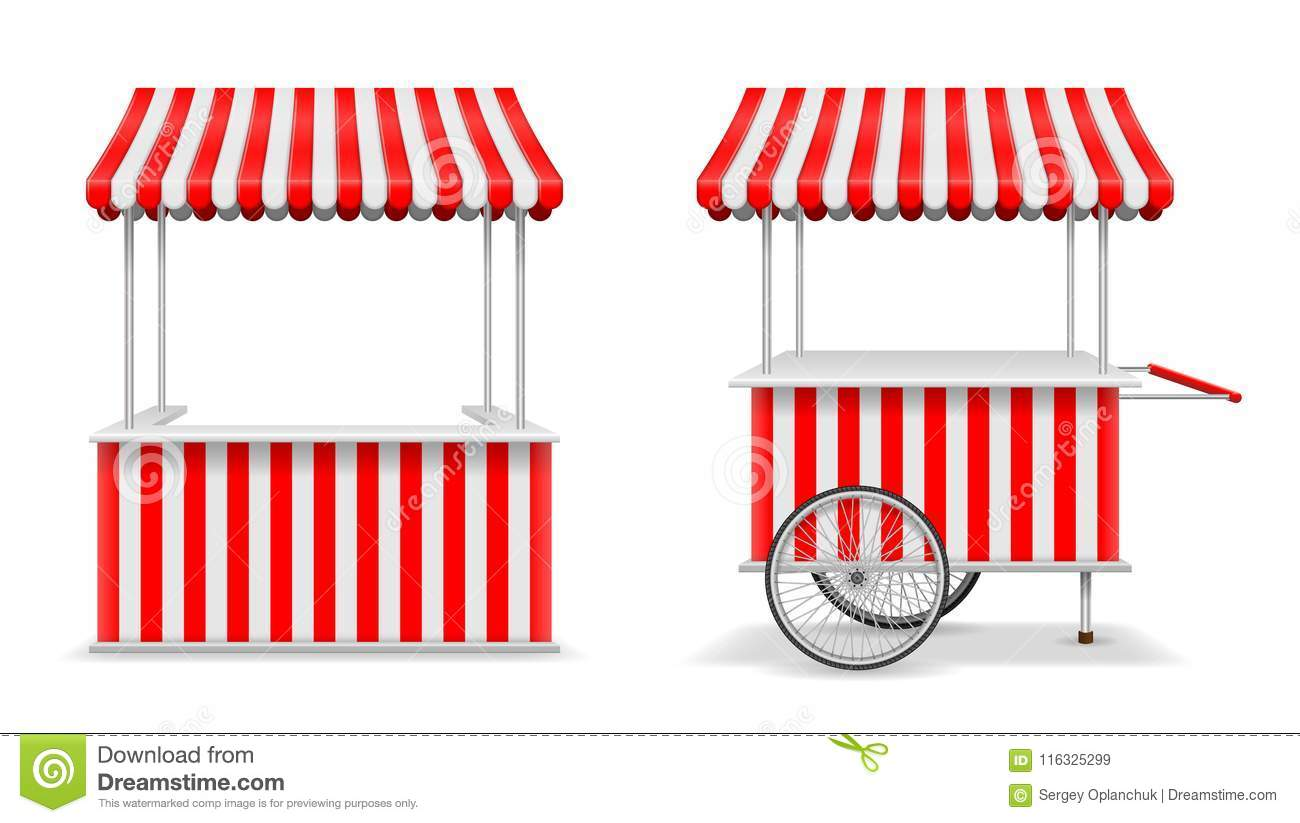 Realistic Set Of Street Food Kiosk And Cart With Wheels Mobile Red