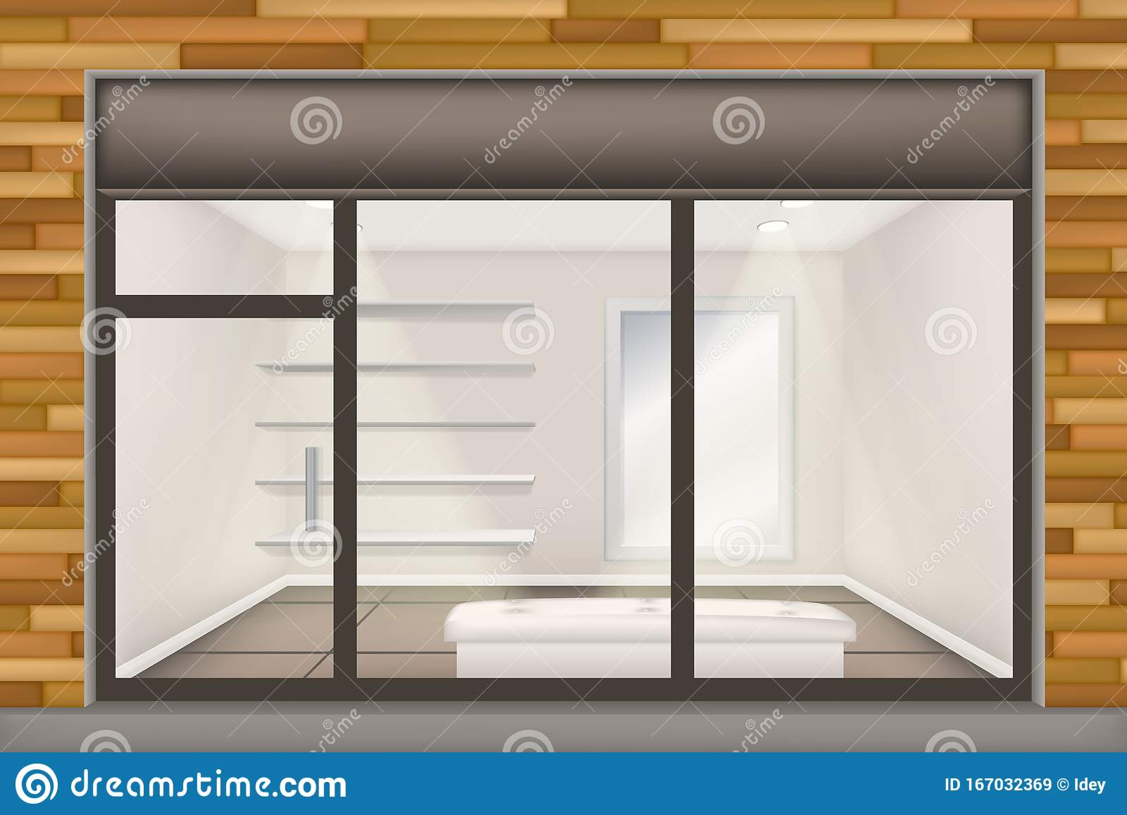 Storefront Windows And Doors realistic shop with glass windows and doors, front store