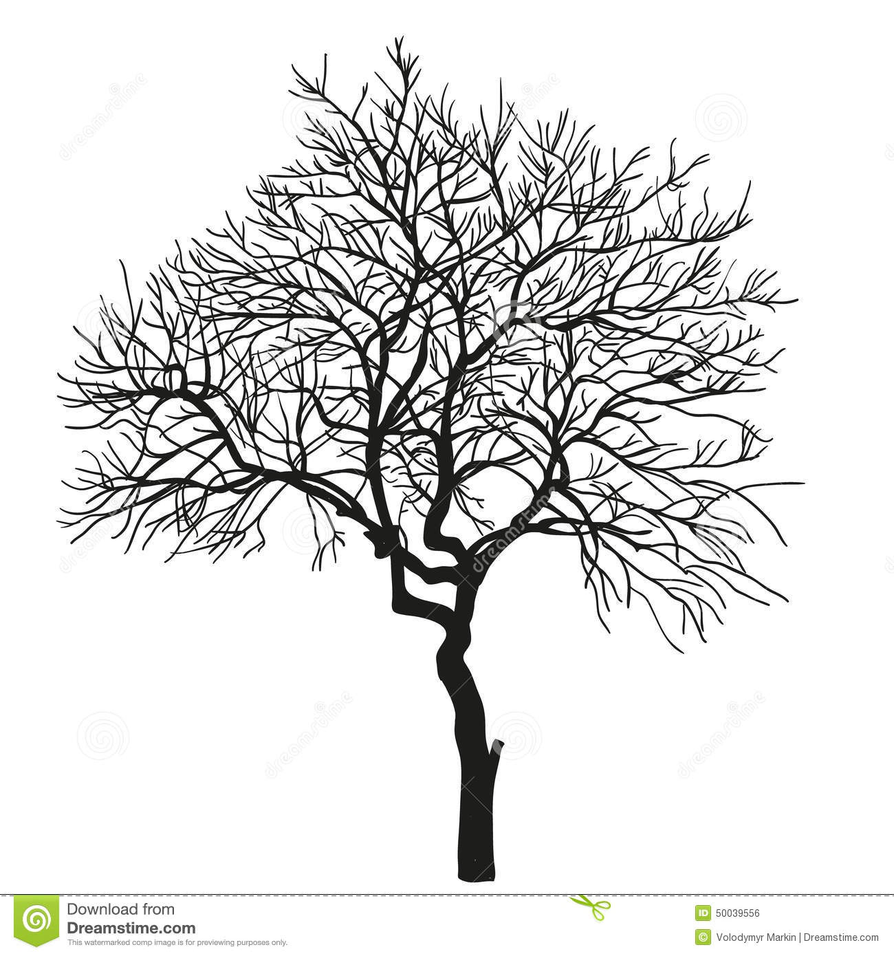 realistic silhouette of tree vector stock vector image 50039556