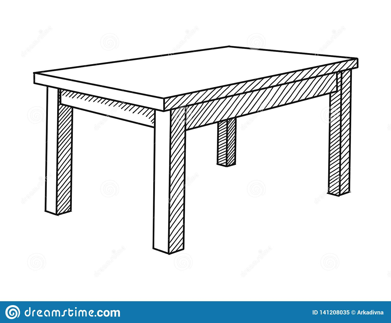 Realistic Sketch Of The Table In Perspective. Vector Stock