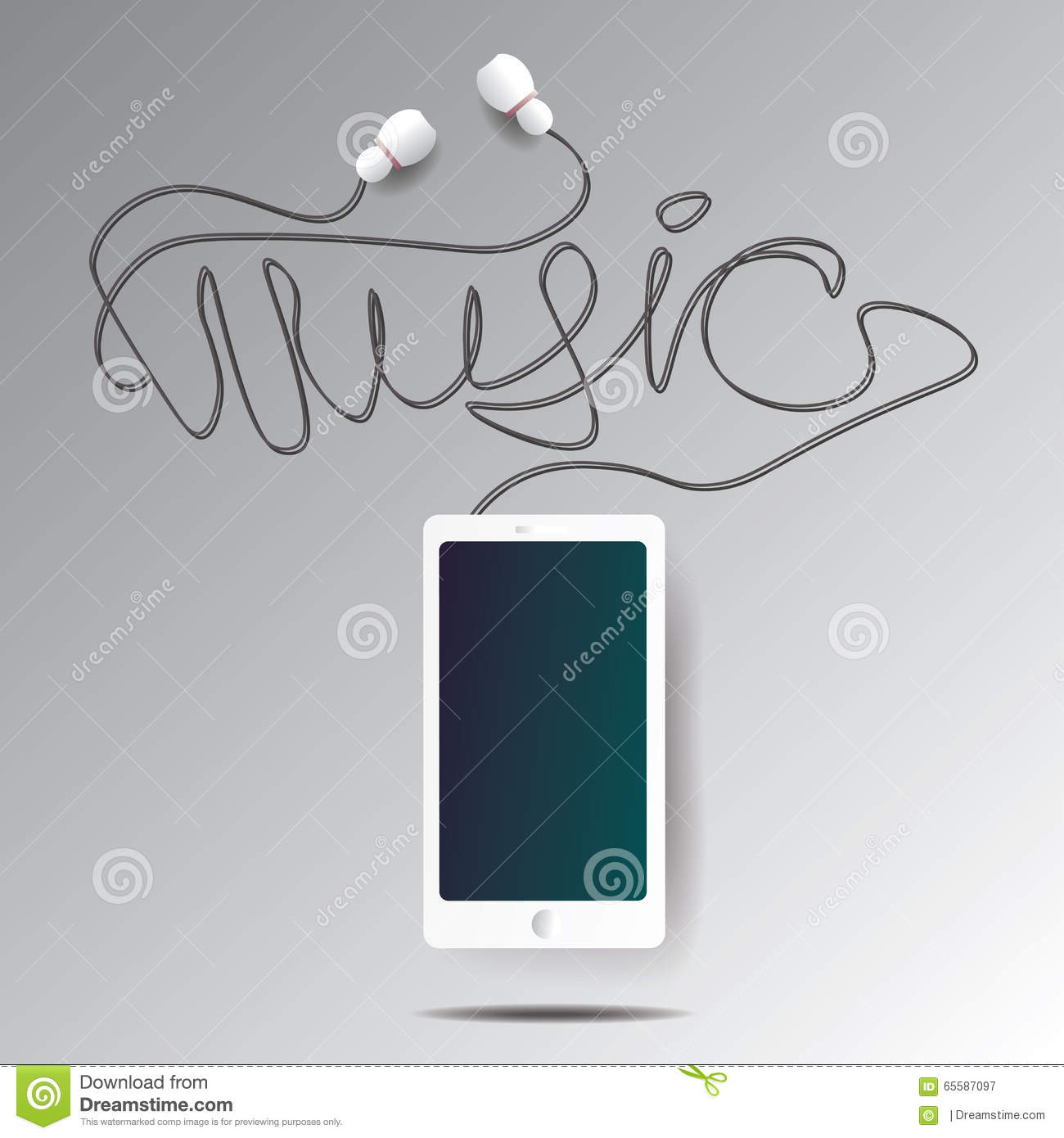 Realistic smartphone and headphones illustration with word music made from  wire