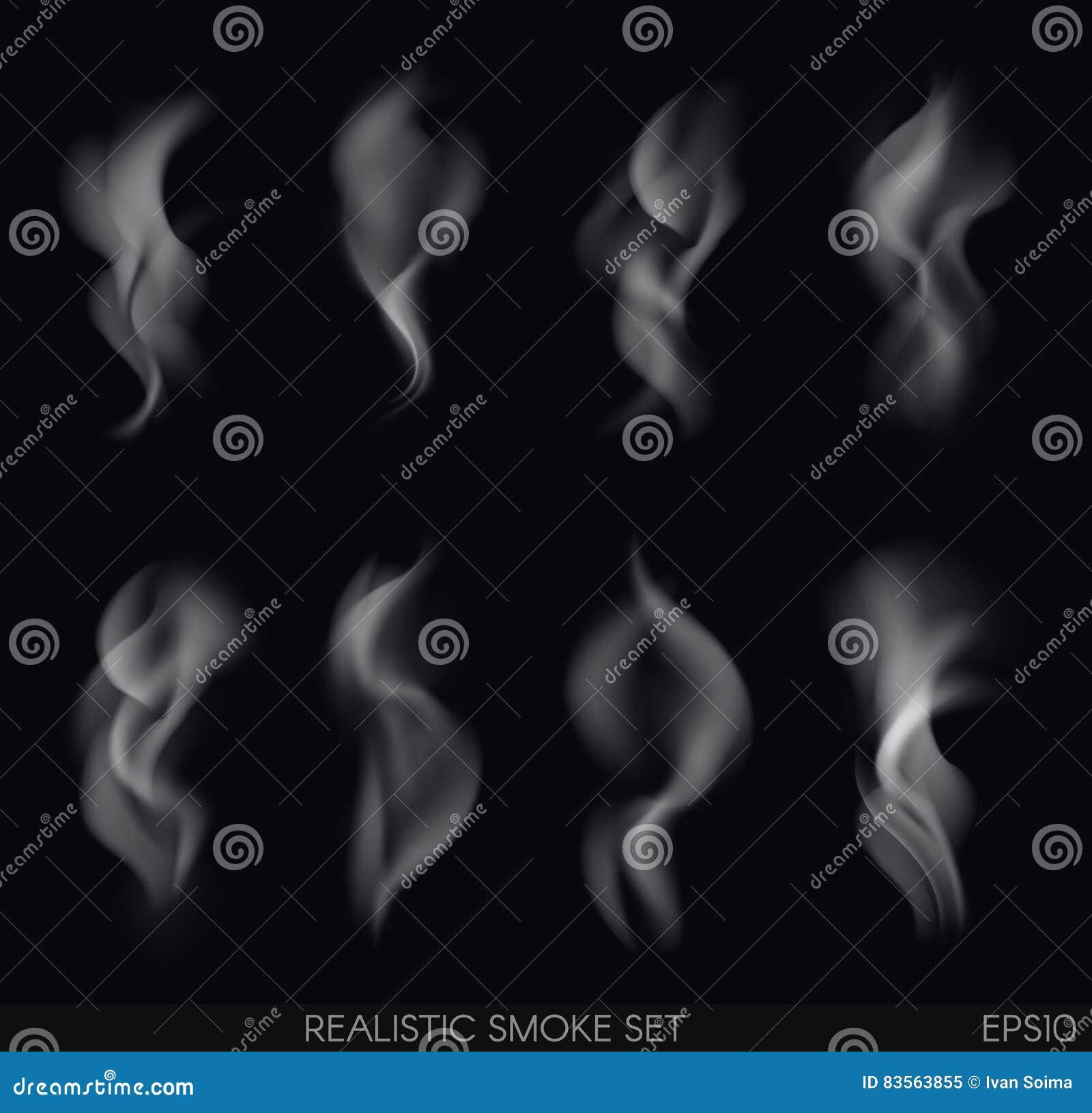 Realistic smoke set stock vector  Illustration of concept