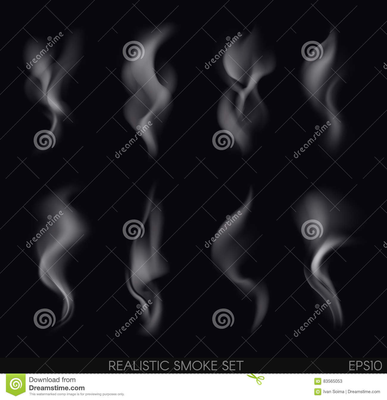 Realistic smoke set stock vector  Illustration of illustration