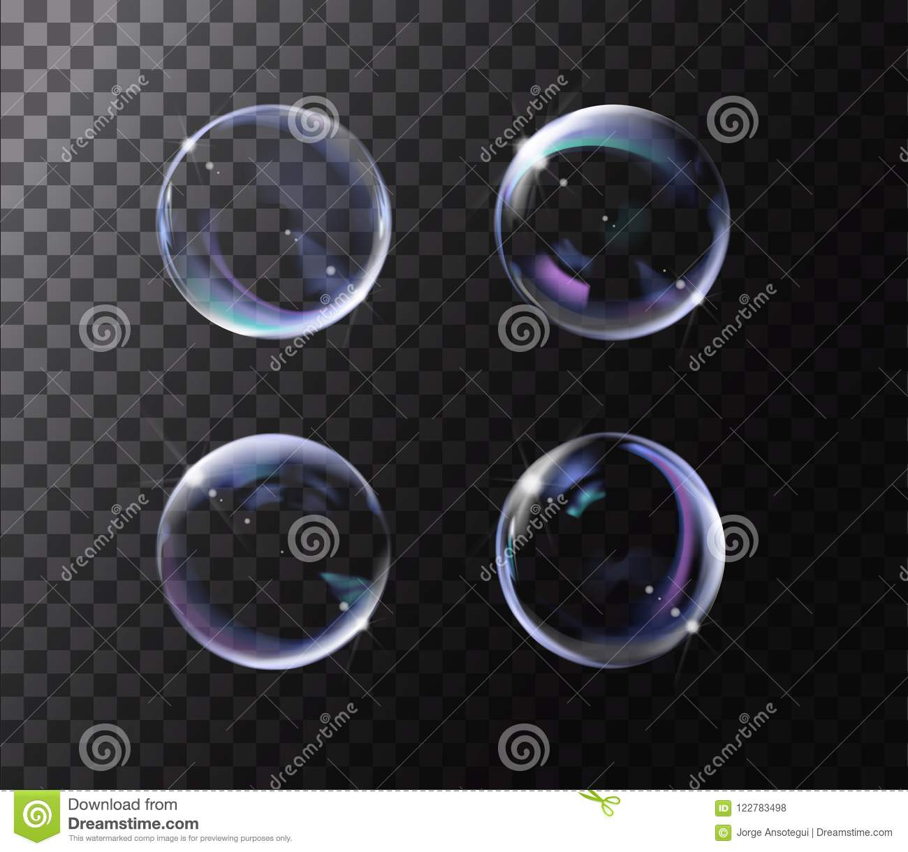 Realistic soap bubble with rainbow colors on black background.
