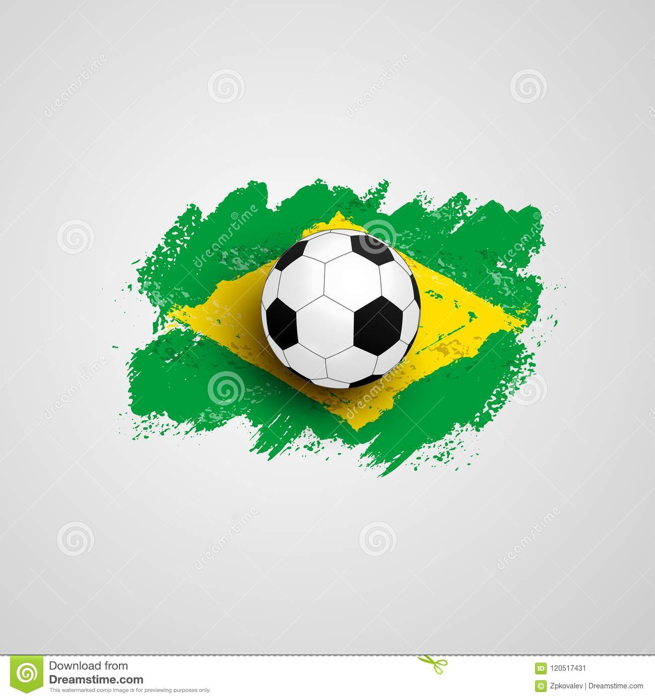 f1a4a104b Realistic Soccer Ball On Flag Of Brazil