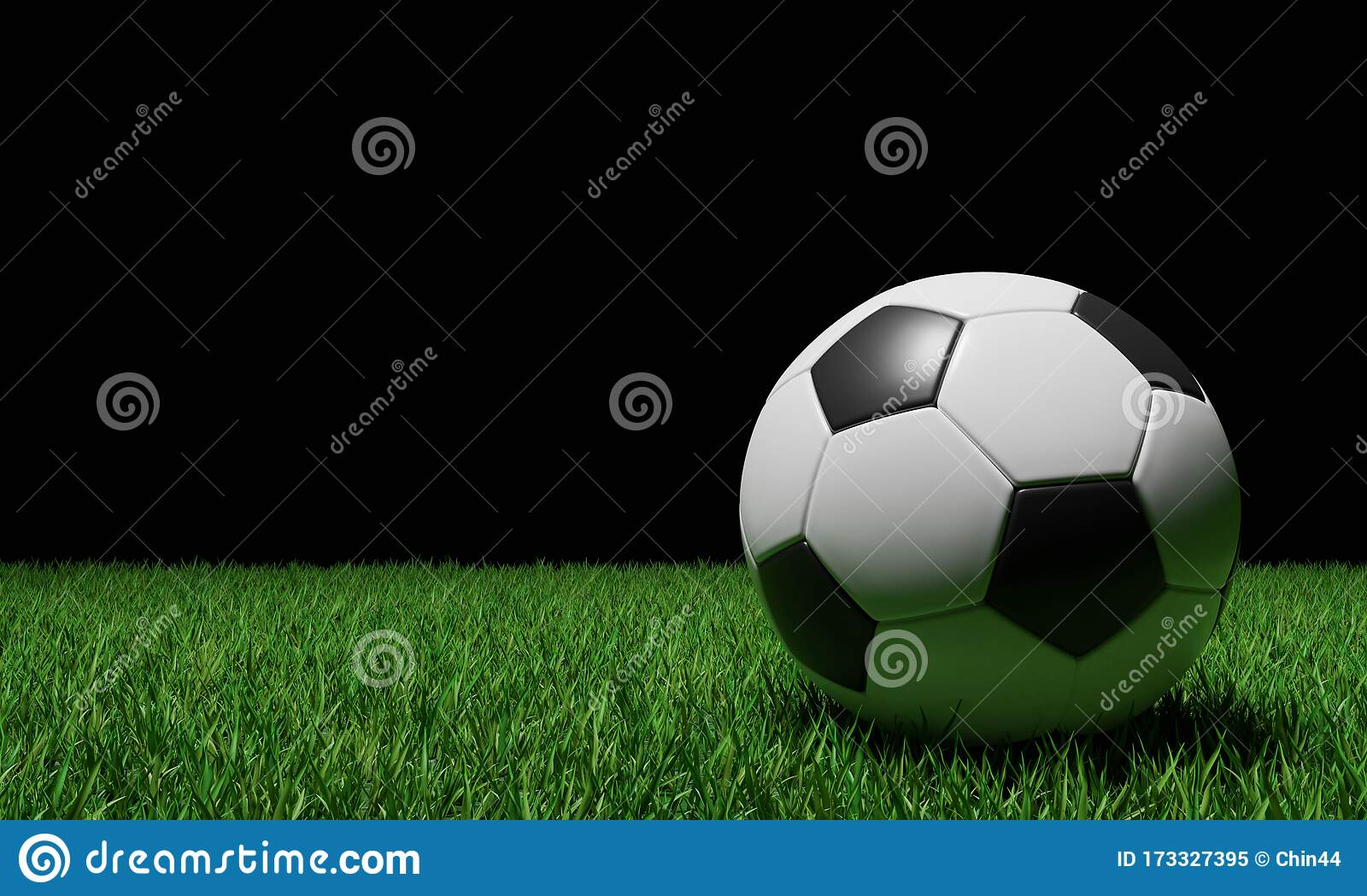 realistic soccer ball football ball basic pattern green grass field d style rendering concept game olympic japan 173327395
