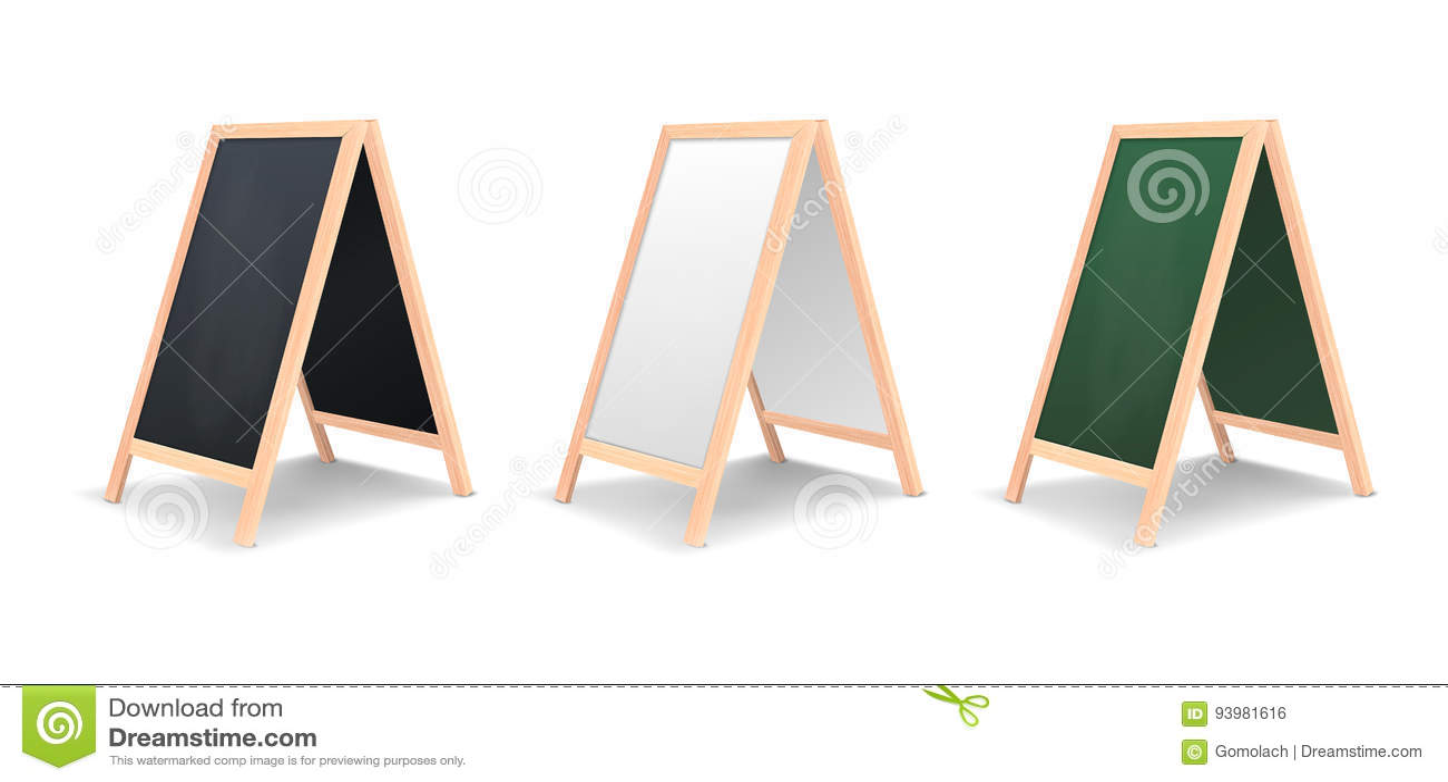 Realistic special menu announcement board icon set. Vector clean restaurant outdoor blackboard background. Mockup of