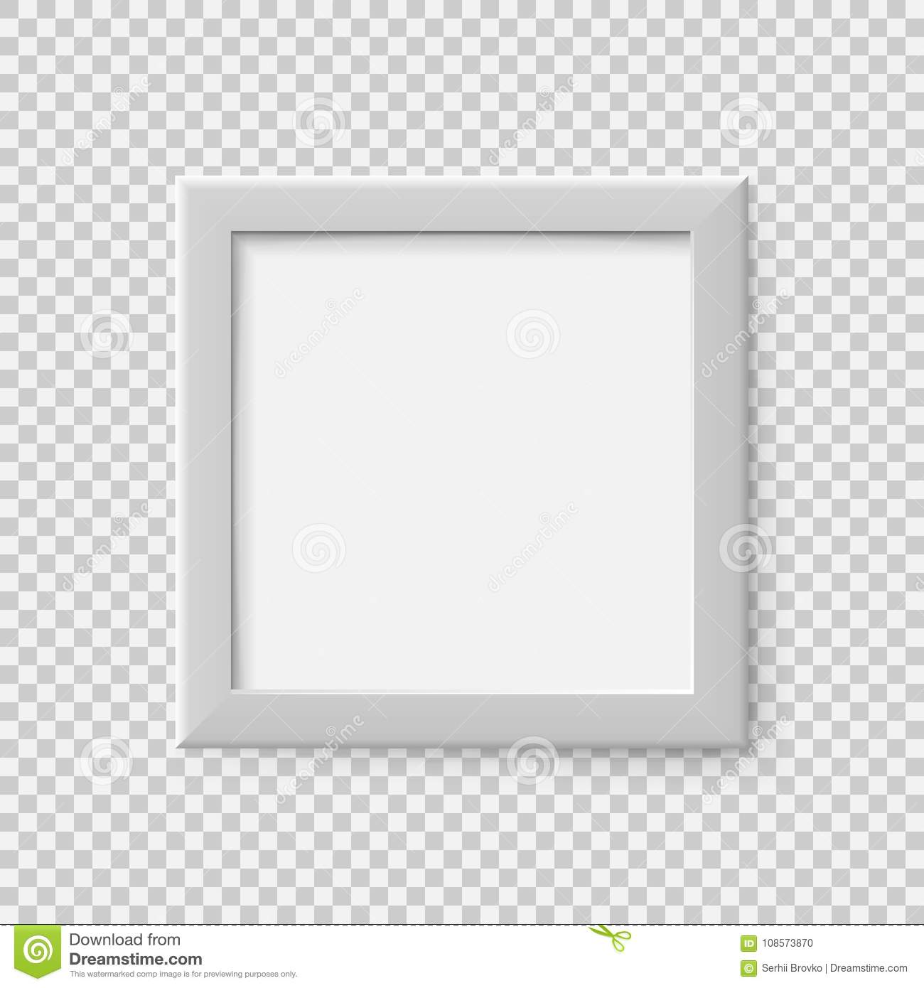 Realistic Square Empty Picture Frame. Blank White Picture Frame ...