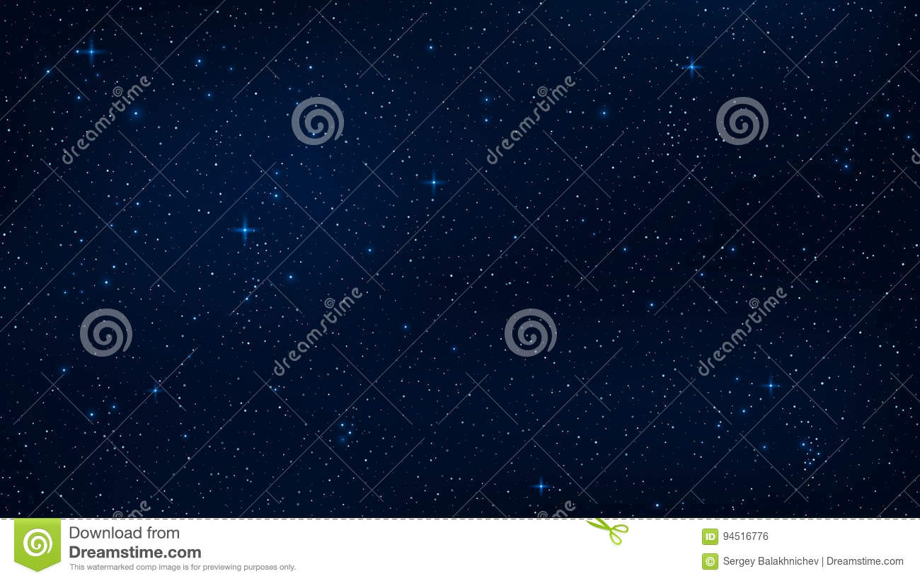 A Realistic Starry Sky With A Blue Glow. Shining Stars In