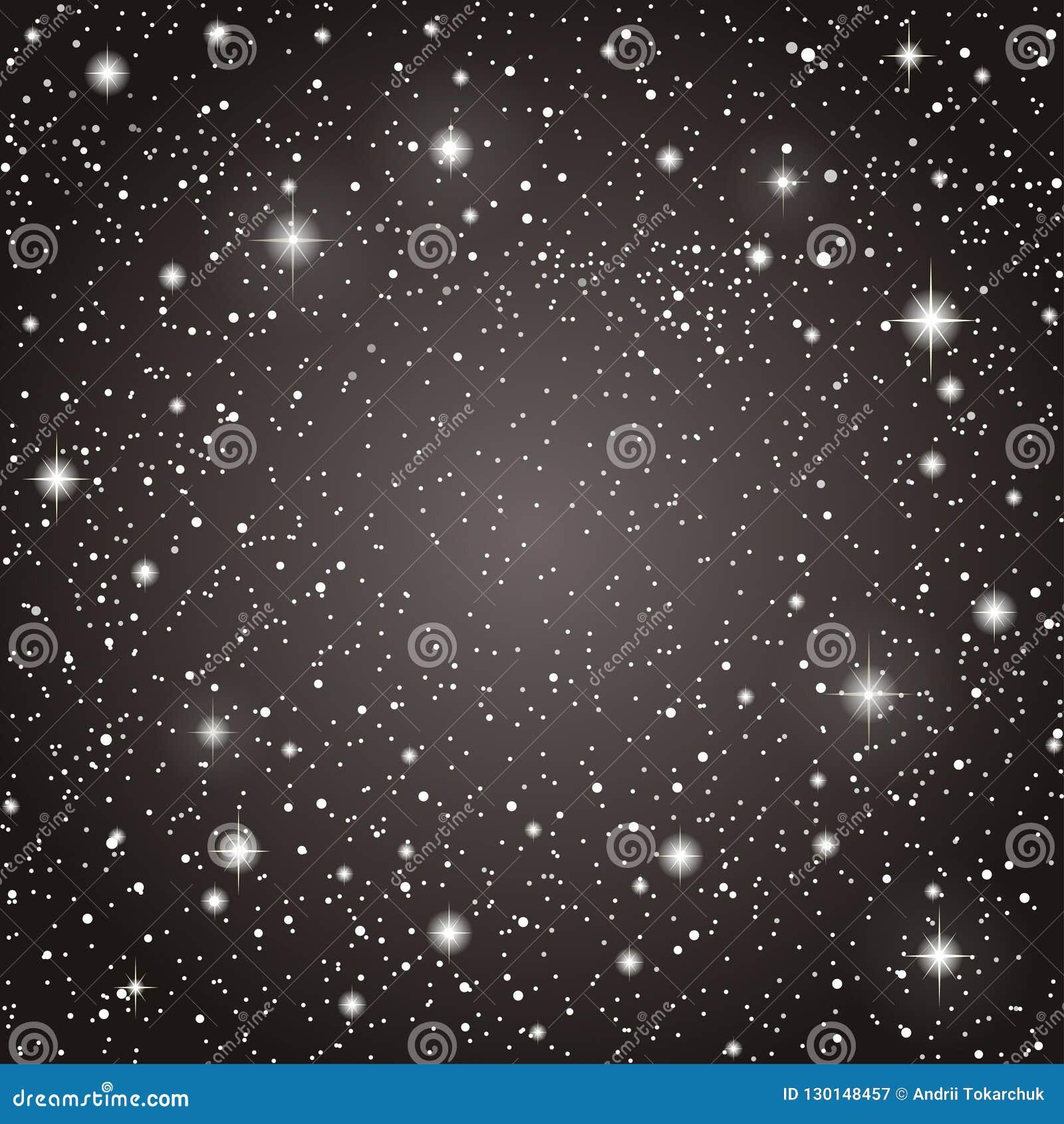 Realistic Starry Sky Shining Stars Dark Sky Stock Vector