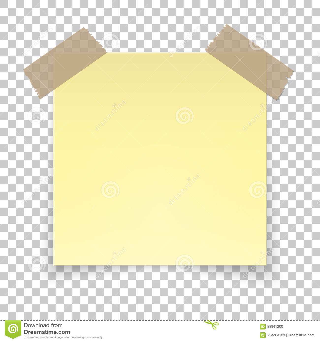 Realistic Sticky Tape On Transparent Background, Empty Yellow Note Template  For Your Design. Vector