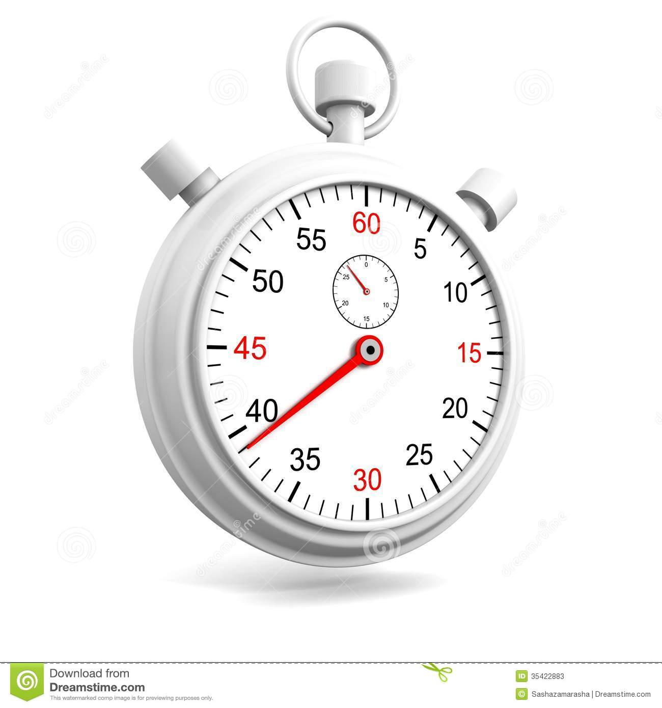 Realistic Stopwatch Or Chronometer Watch On White