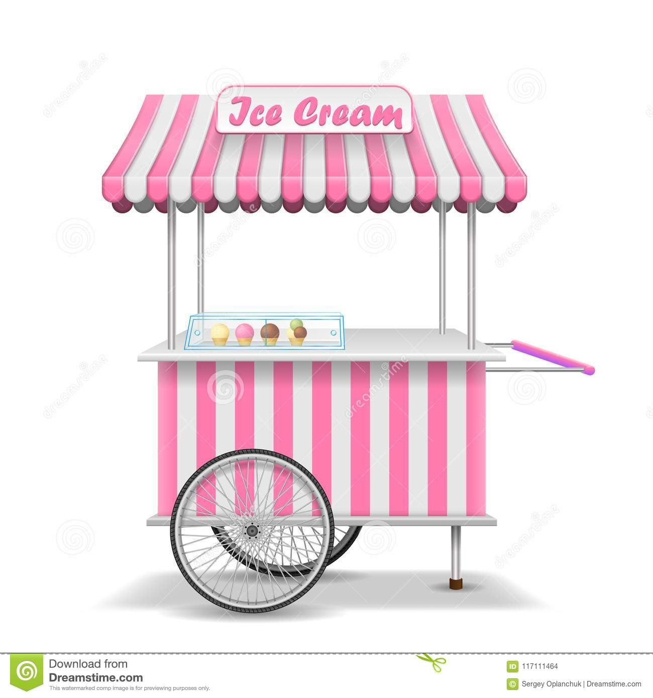 Realistic Street Food Cart With Wheels  Mobile Pink Ice Cream Market
