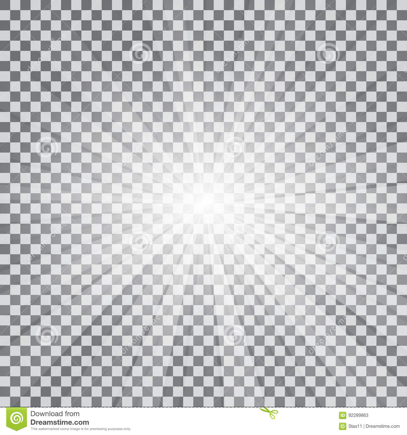 Download Realistic Sun Rays Light Effect On A Transparent Background Stock Illustration