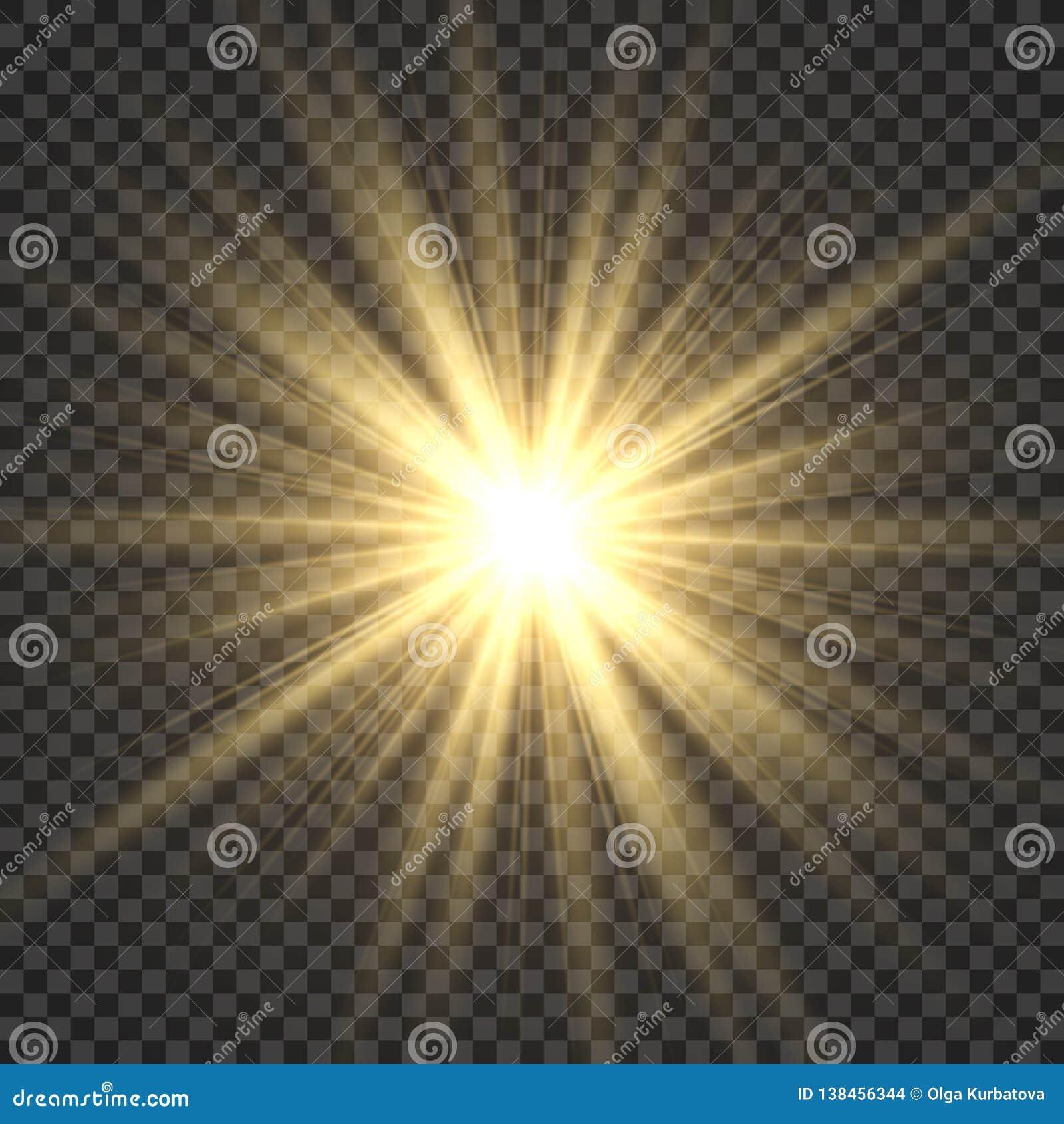 Realistic sun rays. Yellow sun ray glow abstract shine light effect starburst sbeam sunshine glowing isolated image