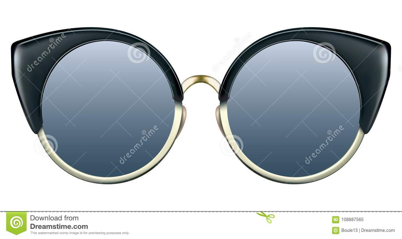 Sunglasses with blue lens and gold metalic frame