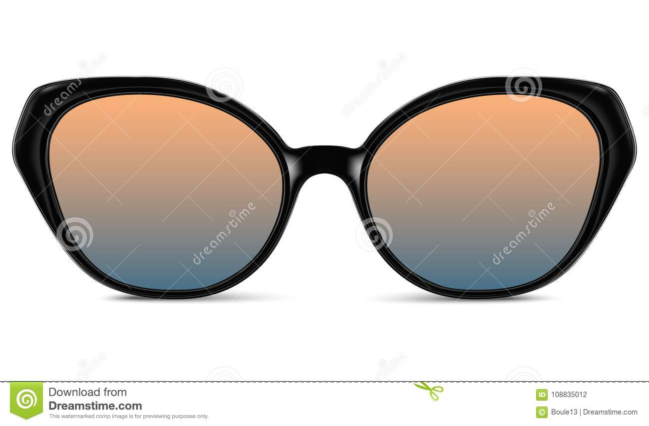 Sunglasses with blue lens and black plastic frame