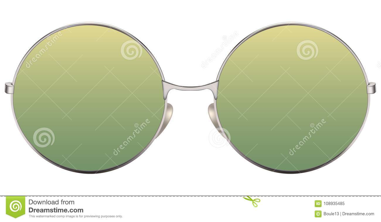 Sunglasses with green lens and metallic frame