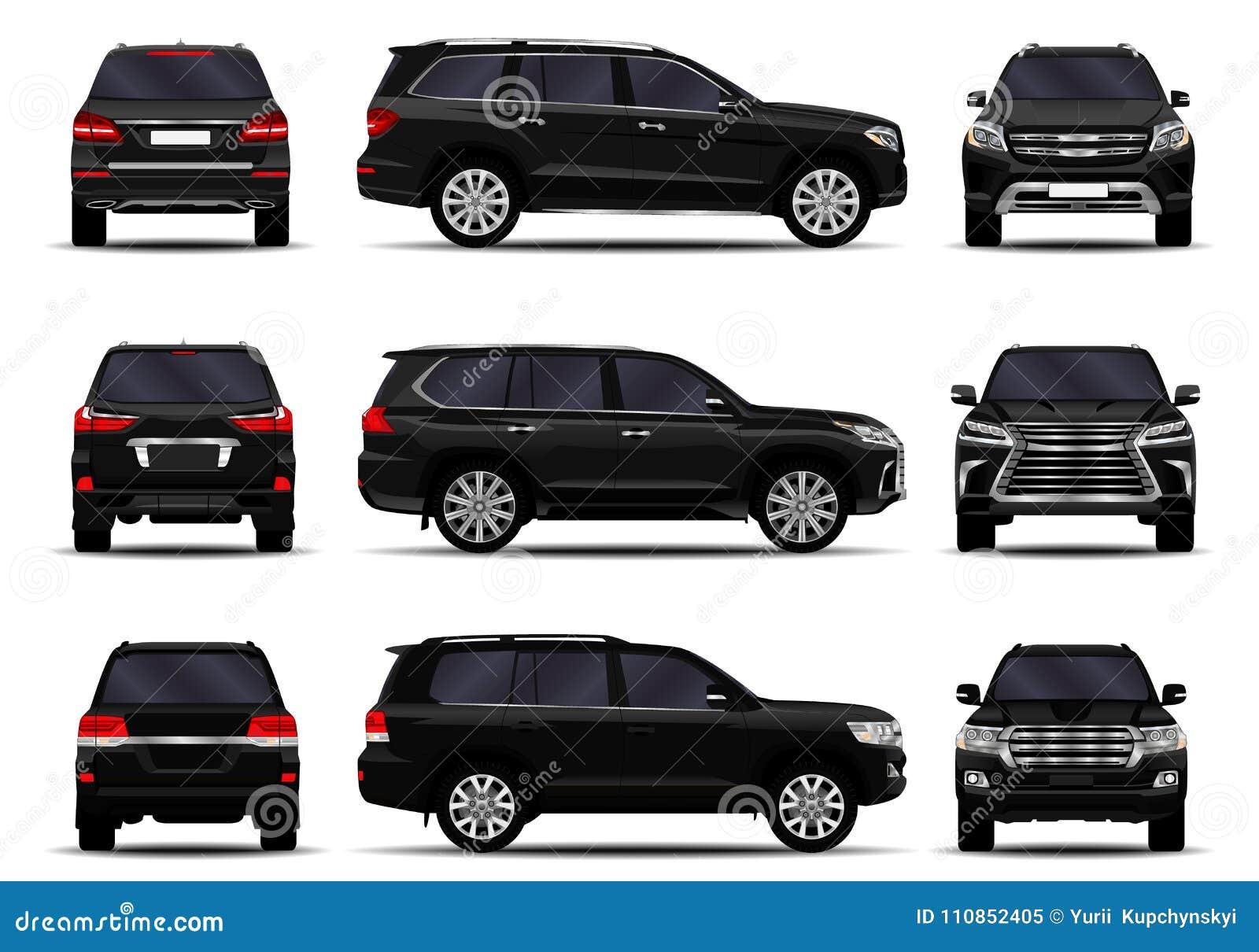 Realistic Suv Cars Set Stock Illustration Illustration Of Shadow 110852405