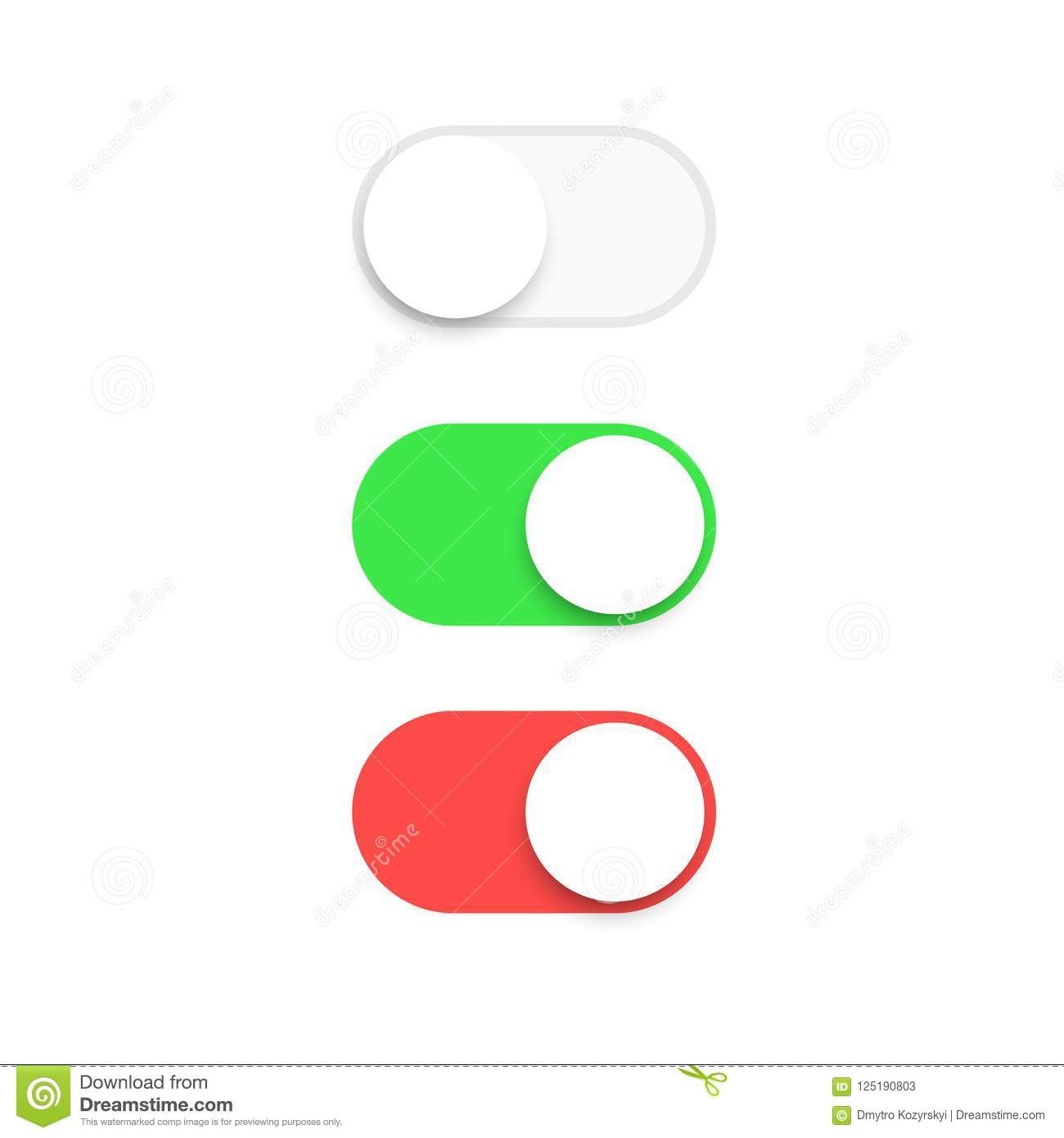Realistic Switch Toggle Buttons Set Or Tree Sliders In On And Off