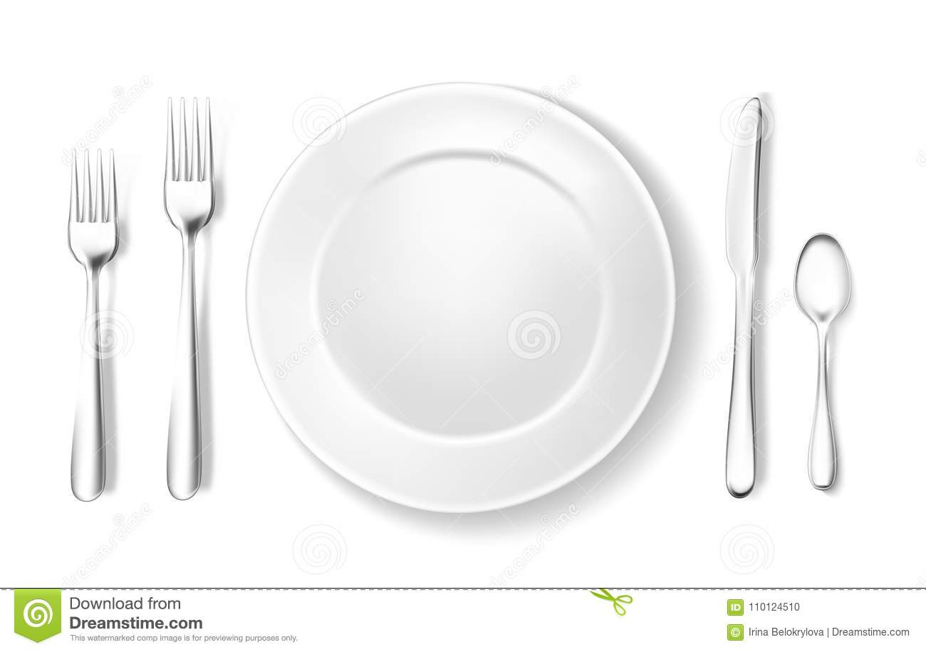 Realistic Table Setting, Arrangement Fork Spoon Stock Vector ...