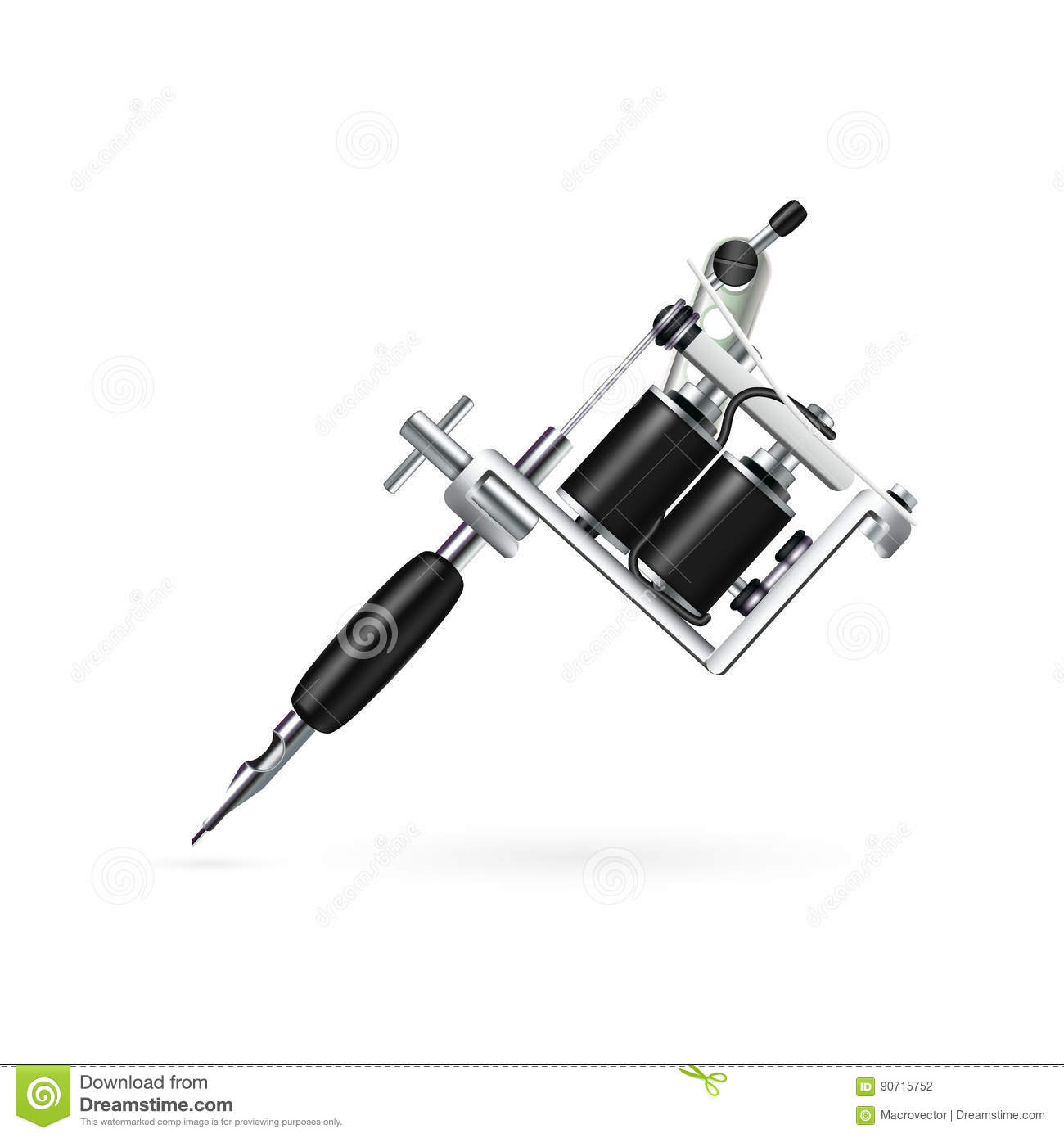 Realistic Tattoo Machine Royalty Free Vector Download