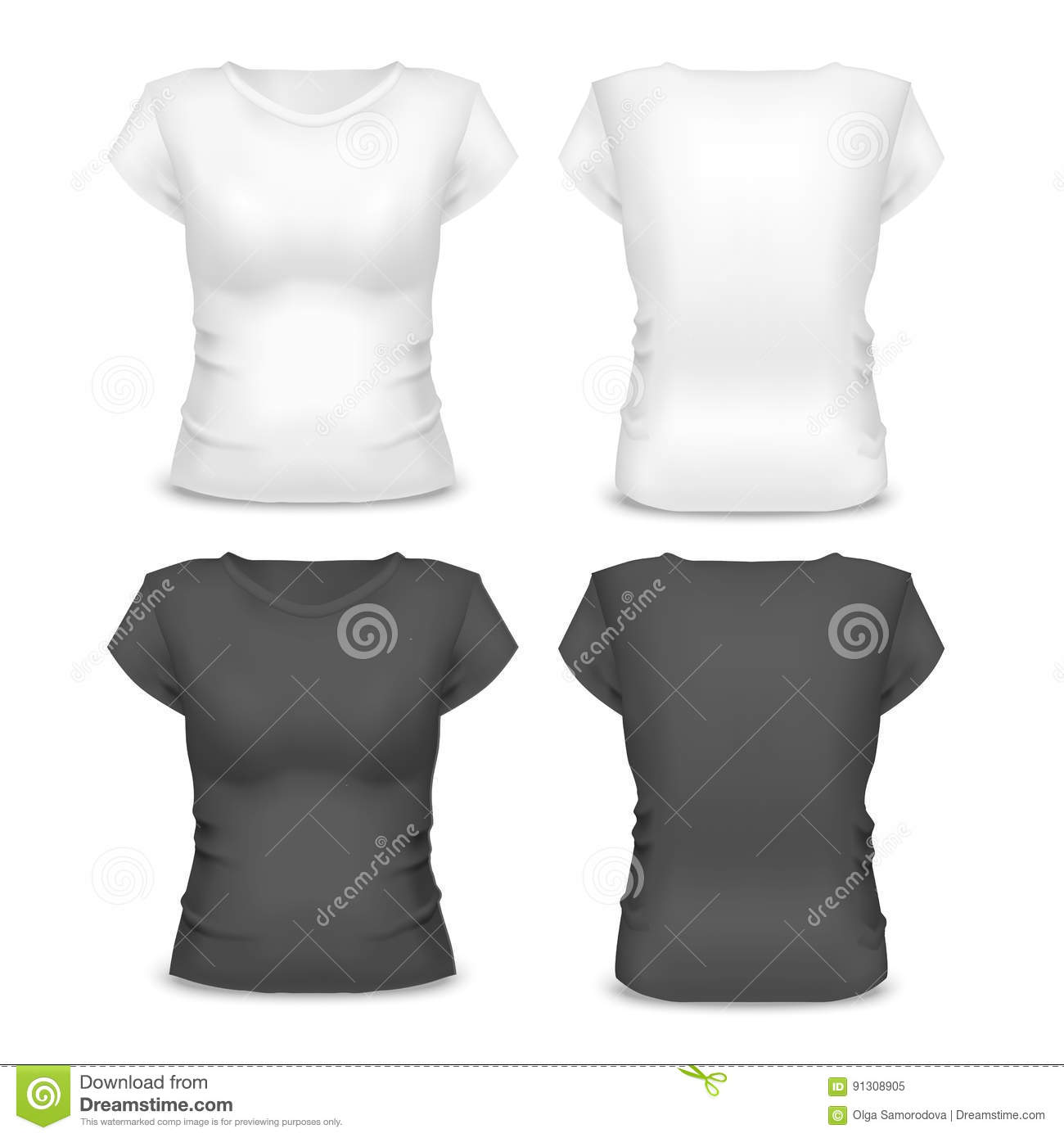 Realistic Template Blank White And Black Woman T Shirt Vector Stock