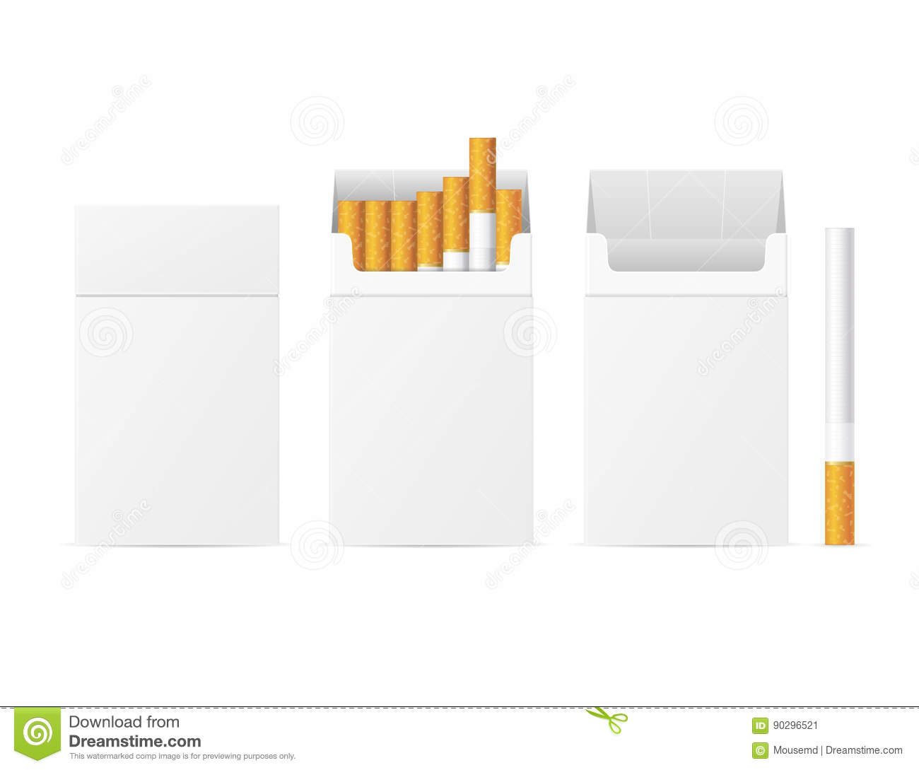 realistic template blank white cigarette pack vector stock vector