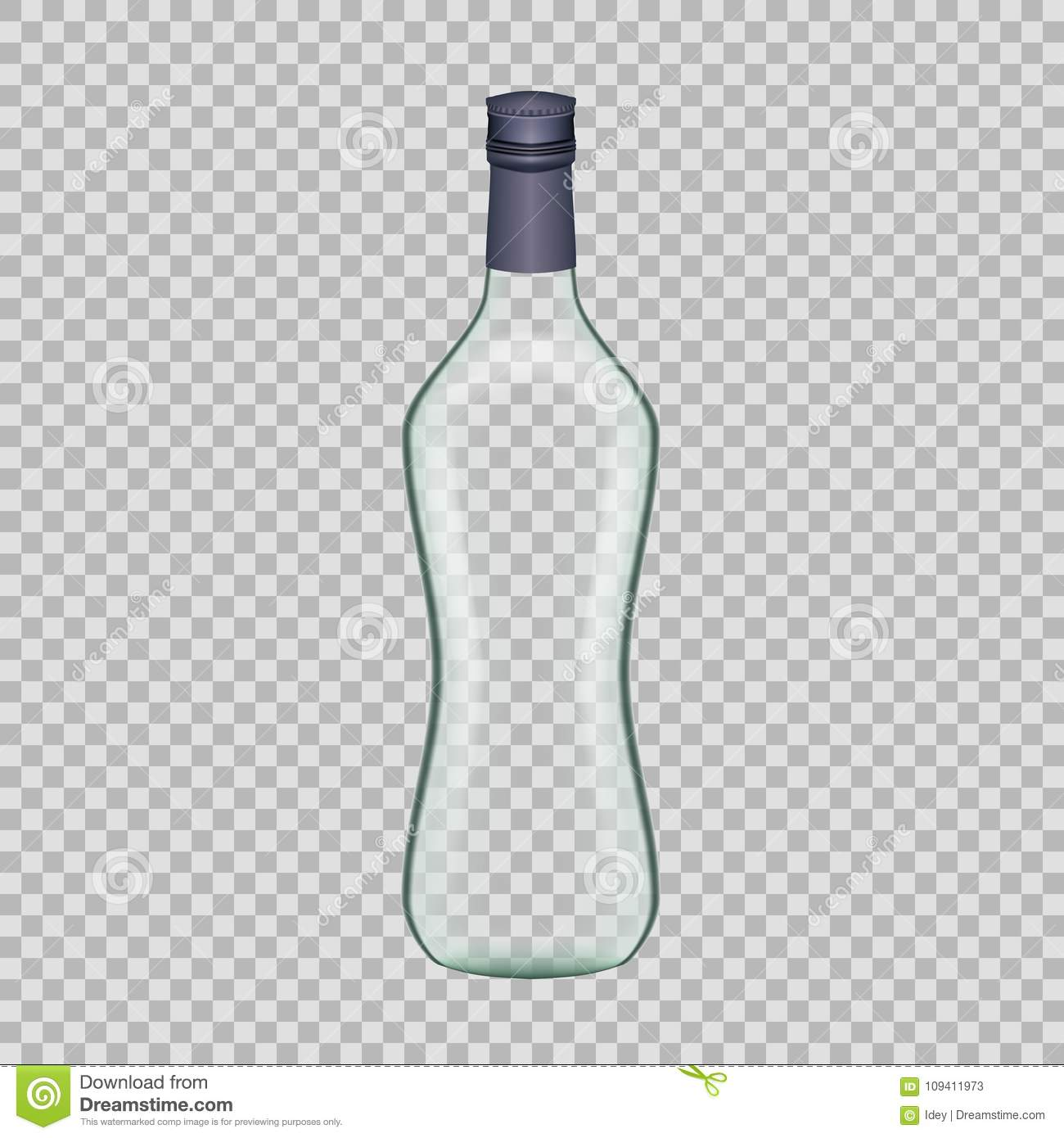Realistic template empty beautiful glass vodka bottle with cap realistic template of empty glass vodka bottle with cap template breadboard glass package mockup bottles of alcoholic beverage on a transparent maxwellsz