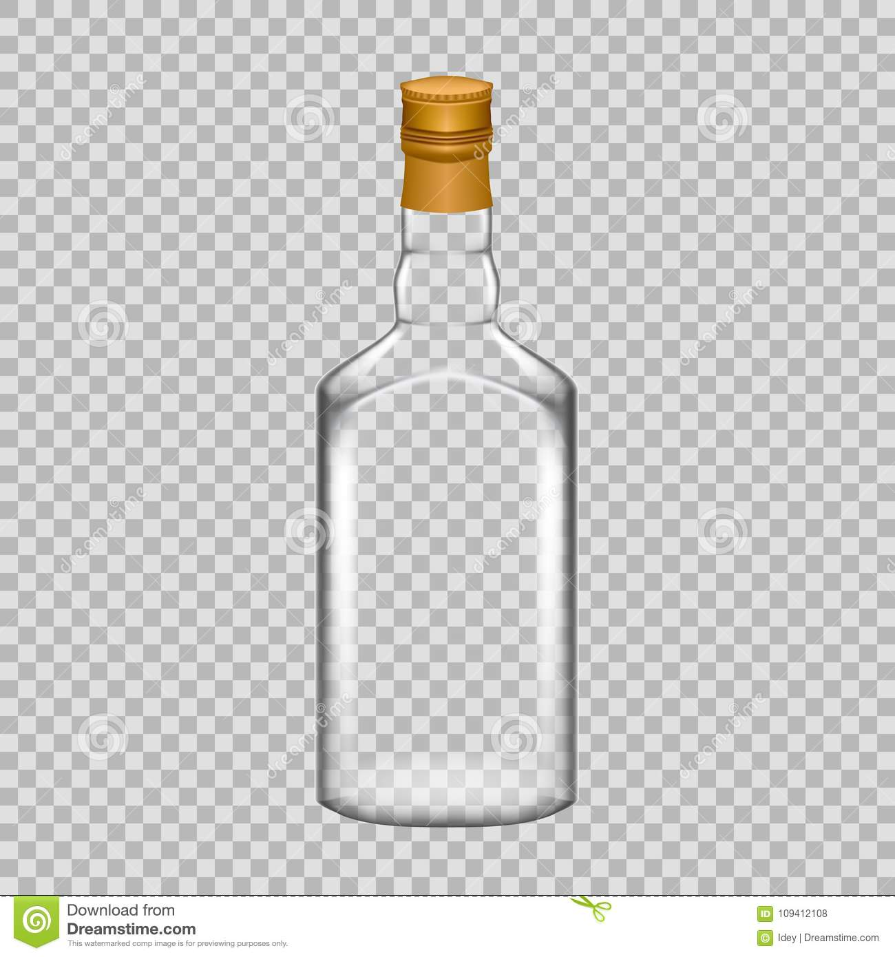 Realistic template empty beautiful glass whiskey bottle with cap download realistic template empty beautiful glass whiskey bottle with cap stock vector illustration of maxwellsz