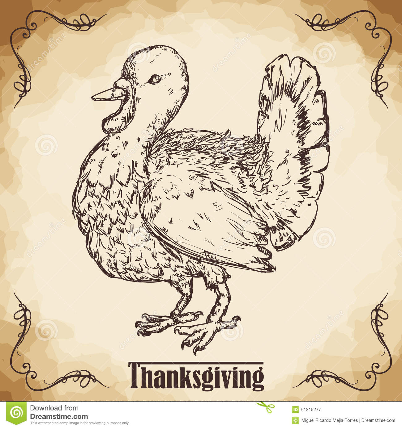 Realistic Thanksgiving Turkey Hand Drawn Style Poster