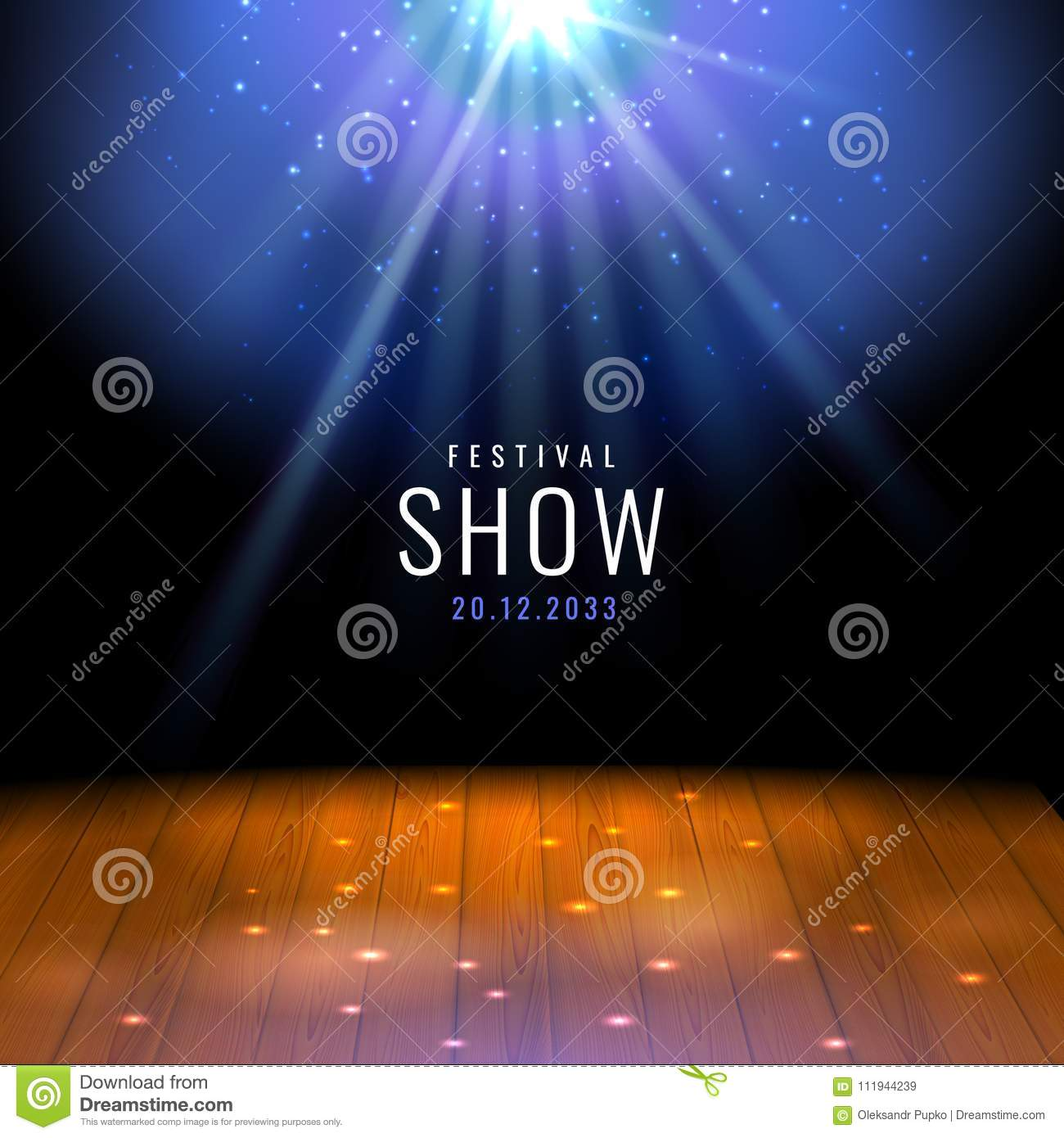 Realistic theater wooden stage or floor with spotlight Vector festive template with lights and scene. Poster design for