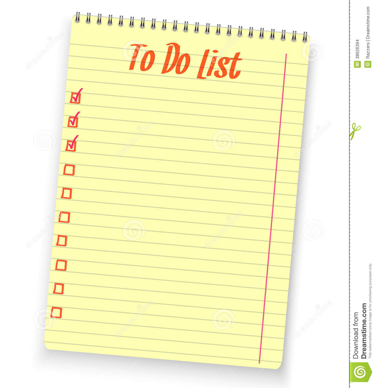 Realistic To Do List Spiral Notebook Yellow Stock Images   Image