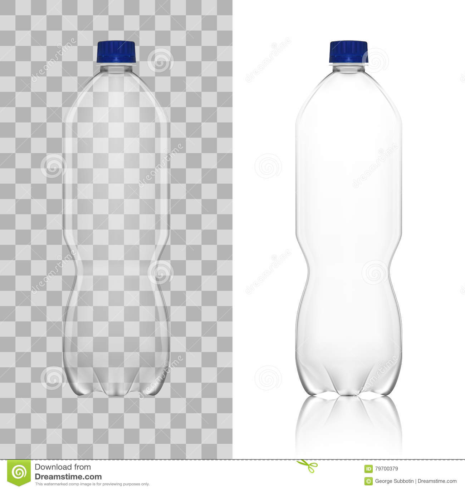 realistic transparent empty clean plastic bottle template stock