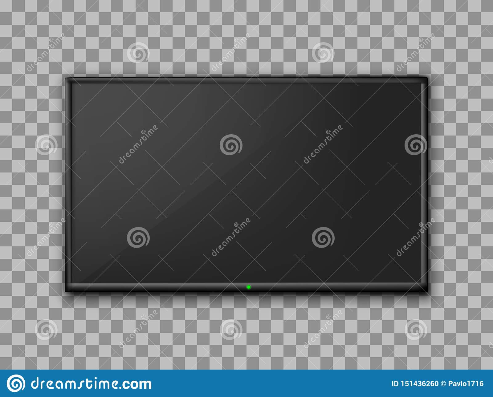 Realistic TV screen. Empty TV frame transparent background. Modern stylish lcd monitor, led type. Blank television template
