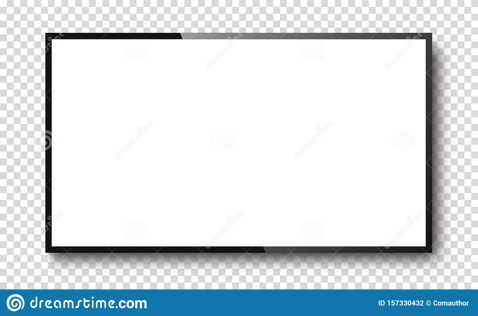 Realistic TV screen on a isolated baskgound. 3d blank led monitor - stock vector