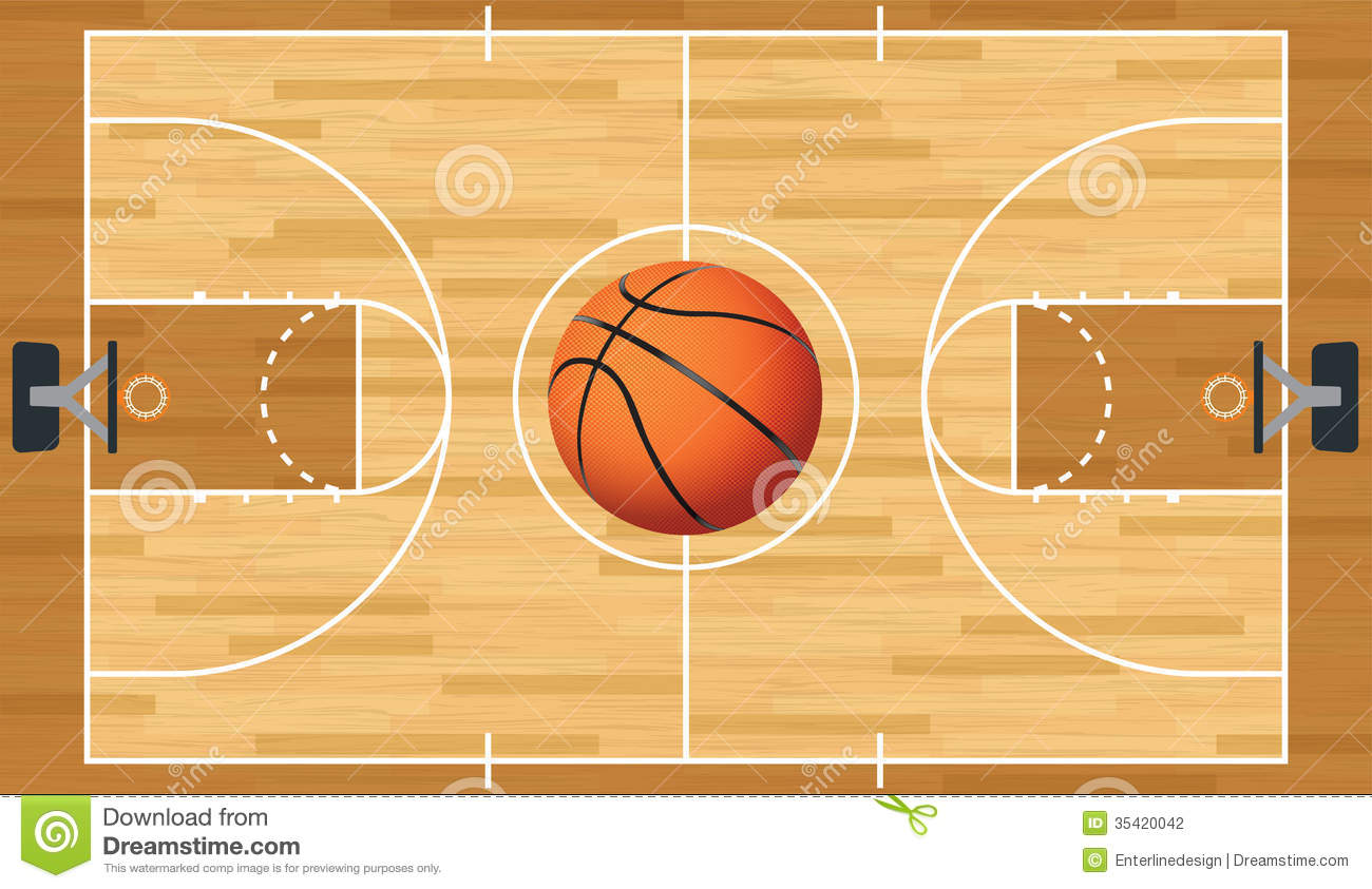 Realistic Vector Basketball Court And Ball Stock Vector