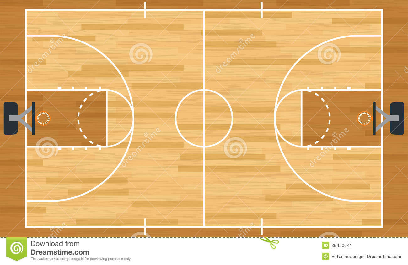 Realistic vector basketball court stock vector for How big is a basketball court