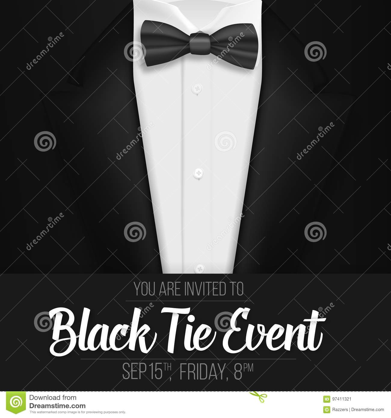 realistic vector black suit black tie event invitation template vector mens suit with bow tie. Black Bedroom Furniture Sets. Home Design Ideas