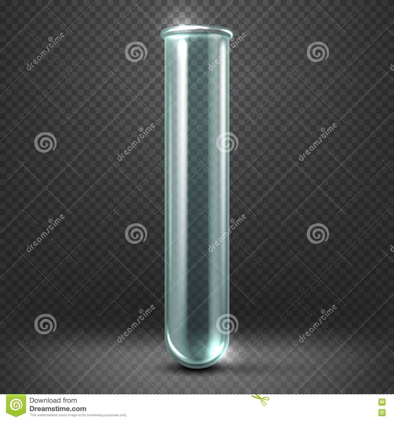Download Realistic Vector Empty Glass Test Tube Template Isolated On Transparent Checkered Background. Stock Vector - Illustration of analysis, background: 78657532
