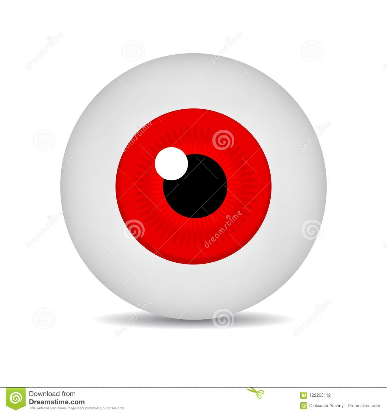 realistic vector illustration icon 3d round image red eyeball red