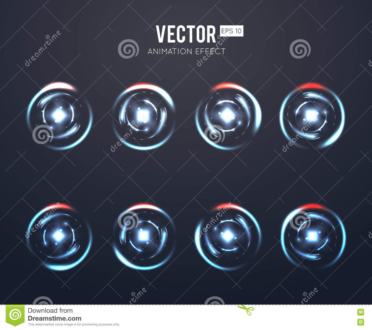 Realistic vector light effect rotating animation set for spinning loader or game load