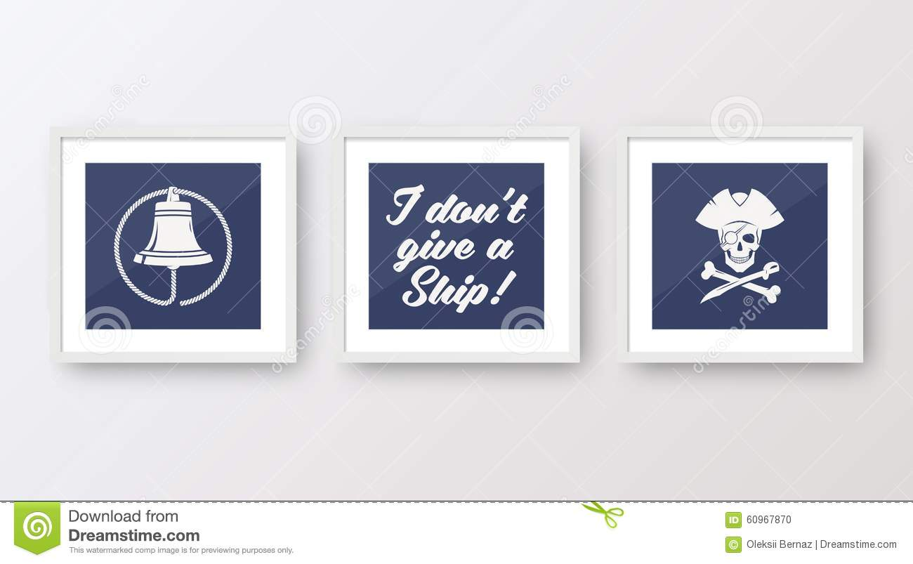 Realistic Vector Navy Or Marine Picture Frames Set Stock Vector ...