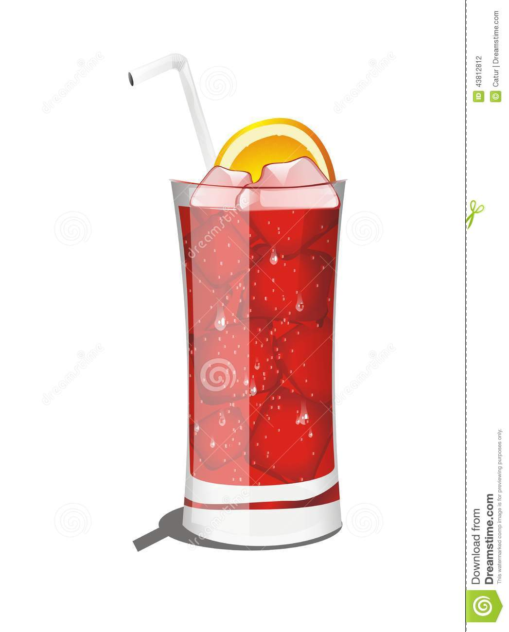 Realistic Vector Red Cocktail Drink Stock Vector - Image: 43812812