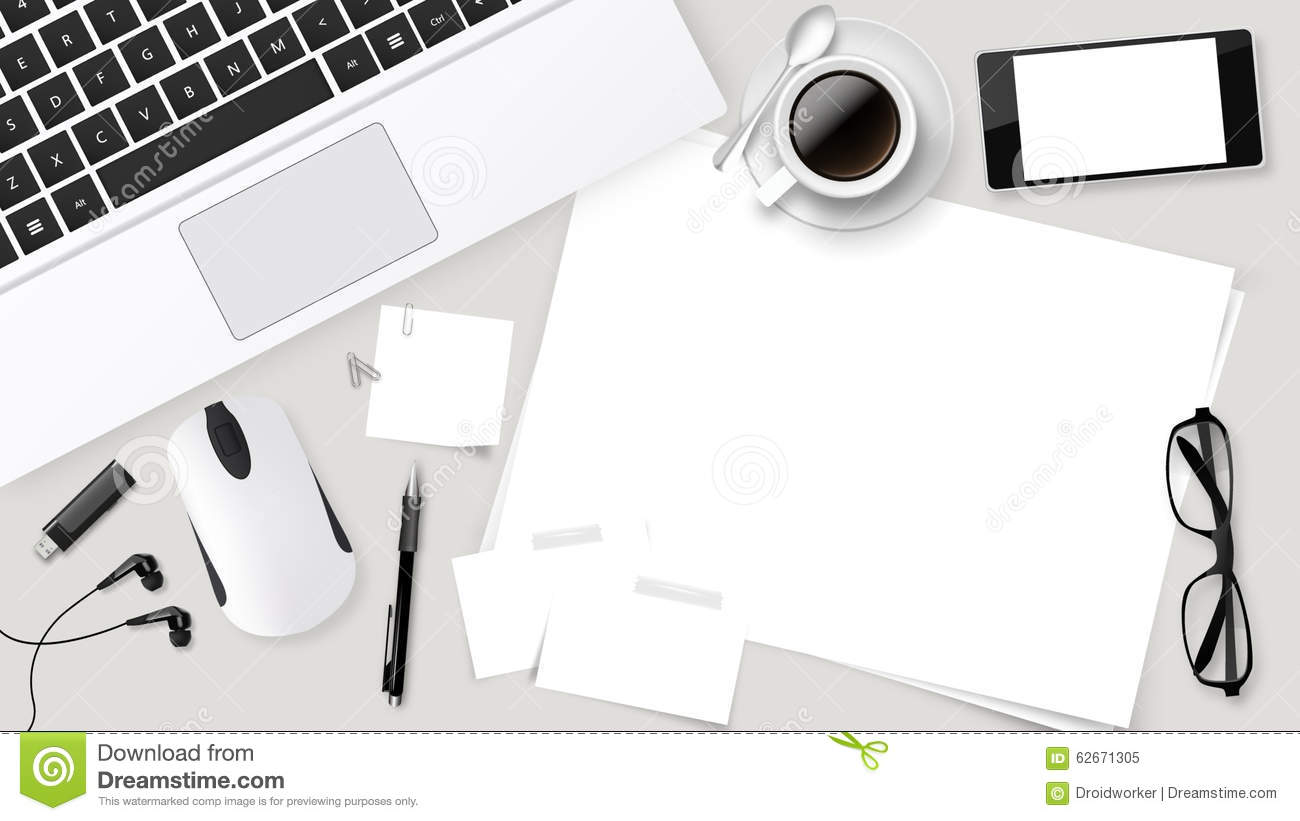 Top office table cup Vector Realistic Vector Top Office Table With Laptop Cup Of Coffee Papers Pencil Tablet Dreamstimecom Realistic Vector Top Office Table With Laptop Cup Of Coffee Papers