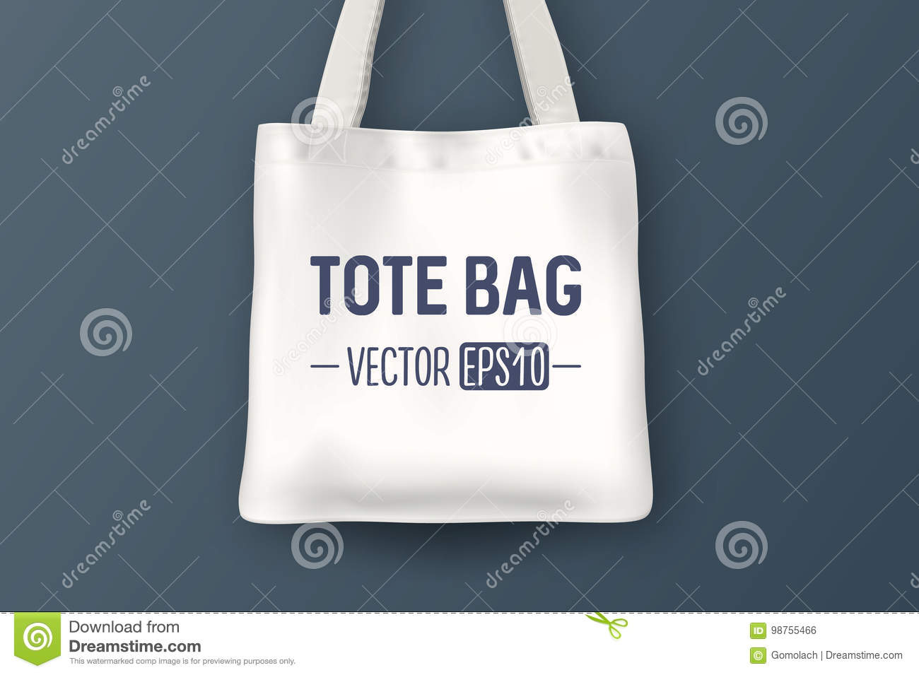 Realistic Vector White Empty Textile Tote Bag Closeup On Blue