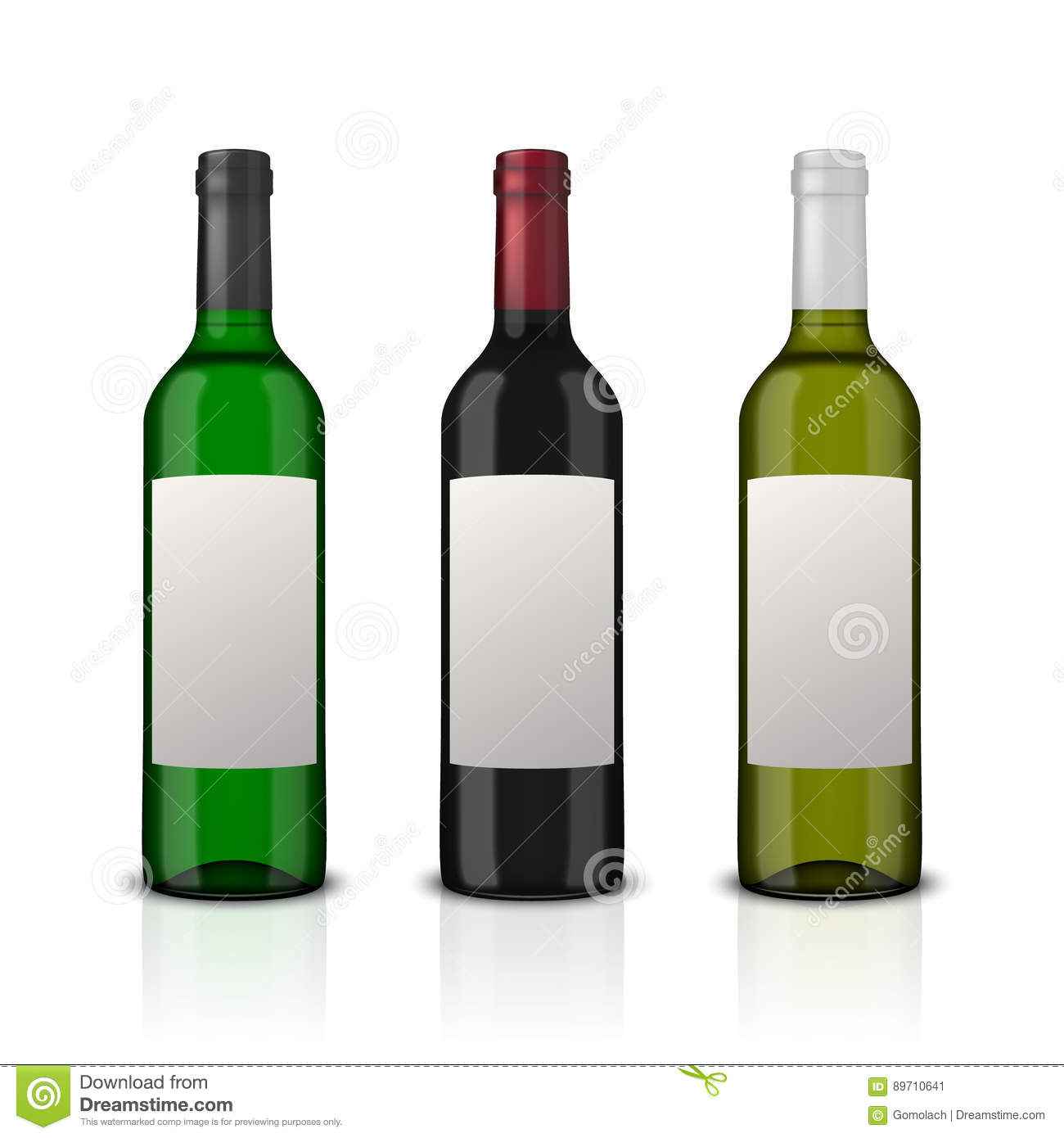 Realistic Vector Wine Bottles With Blank Label Set Isolated On White ...